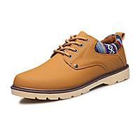 tanie Obuwie męskie-Męskie Buty PU Wiosna Jesień garbić buty Comfort Oksfordki Spacery Szurowane na Casual Black Ciemno niebieski Earth Yellow