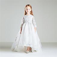 Vestido de princesa vestido de flor vestido de algodão - algodão 3/4 comprimento mangas jóia pescoço por anbaby