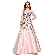 A-linje Kæreste Gulvlang Chiffon / Satin Berømmelse stil Skolebal / Formel aften Kjole med Broderi ved TS Couture®