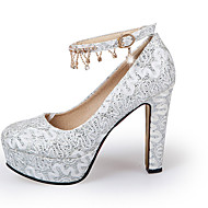 cheap Small Size Shoes-Women's Shoes Glitter Spring Summer Heels Chunky Heel Block Heel Round Toe Crystal Flower for Wedding Casual Party & Evening Gold White