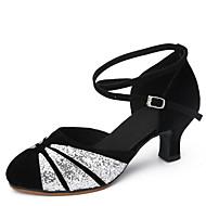 billige Moderne sko-Dame Sko til latindans Paljett / Fløyel Sandaler Tykk hæl Kan ikke spesialtilpasses Dansesko Svart og Gull / Svart og Sølv / Svart / Rød