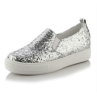 cheap Plus Size Shoes-Women's Shoes Glitter Spring Summer Fall Sneakers Walking Shoes Wedge Heel Round Toe Sequin for Casual Party & Evening Gold Black Silver