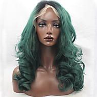 Naisten Synteettiset peruukit Lace Front Pitkä Löysä laine Vihreä Luonnollinen hiusviiva Tummat juuret Keskijakaus Luonnollinen peruukki