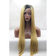 Naisten Synteettiset peruukit Lace Front Suora Keltainen Tummat juuret Luonnollinen hiusviiva Afro-amerikkalainen peruukki Tummille