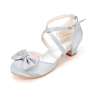 baratos Sapatos de Menina-Para Meninas sapatos Seda Primavera Verão Outono Sapatos para Daminhas de Honra Saltos Laço para Casamento Festas & Noite Prateado