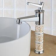 preiswerte -Moderne Mittellage Verbreitete Keramisches Ventil Ein Loch Einhand Ein Loch Chrom, Waschbecken Wasserhahn