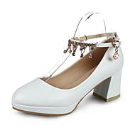 Femme Chaussures à Talons Confort Polyuréthane Printemps Marche Confort Strass Chaîne Lacet Gros Talon Blanc Noir Moins de 2,5 cm