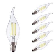 お買い得  LED電球-GMY® 6本 3.5 W 400/350 lm E14 フィラメントタイプLED電球 B 4 LEDビーズ COB 調光可能 温白色 / クールホワイト 220-240 V / 6個 / RoHs