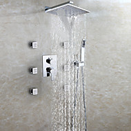 cheap Shower Faucets-Contemporary Wall Mounted Waterfall Rain Shower Handshower Included Ceramic Valve Two Handles Nine Holes Chrome, Shower Faucet