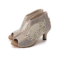 baratos Sapatilhas de Dança-Mulheres Sapatos de Dança Latina / Sapatos de Jazz / Sapatos de Dança Moderna Renda / Glitter Sandália / Salto Pedrarias / Flor de Cetim / Gliter com Brilho Salto Carretel Personalizável Sapatos de