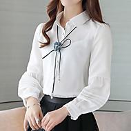 Feminino Blusa Trabalho Para Noite Simples Primavera Verão,Sólido Rosa Branco Poliéster Colarinho de Camisa Manga Longa Fina