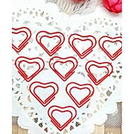 teste padrão do coração de plástico embrulhado clipes de papel de prata (10pcs)