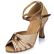 Sapatos de Dança(Azul Dourado) -Feminino-Personalizável-Latina