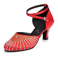 billige Moderne sko-Dame Latin Sateng Sandaler Trening Nybegynner Profesjonell Innendørs Utendørs Opptreden Krystall Sløyfe Krystallhæl Utsvingende hæl Svart
