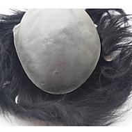 süper ince deri 0.06mm pu v döngü doğal başlık pu ince deri erkek erkek saç değiştirme Peruksuz