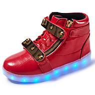 tanie Obuwie chłopięce-Dla chłopców Obuwie Syntetyczny Microfiber PU Wiosna / Jesień Wygoda / Zabawne / Świecące buty Tenisówki Tasiemka / LED na Biały / Czarny / Czerwony