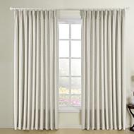 お買い得  カーテン&ドレープ-二つのパネルベージュ色の固体フェイクリネンリビングルームのカーテンのカーテン