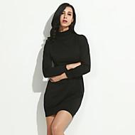 Dámské Sexy / Roztomilé Jdeme ven / Běžné/Denní / Společenské A Line Šaty Jednobarevné,Dlouhý rukáv Rolák Nad kolena Černá Polyester