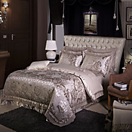 Gray Luxury Silk Cotton Blend Duvet Cover Sets Queen King Size Bedding Set