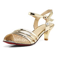 Women's Sandals Spring Summer Fall Synthetic Office & Career Dress Party & Evening Sequin Low Heel Gold Black Silver 2in-2 3/4in