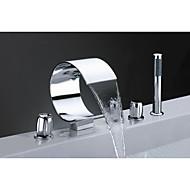 お買い得  浴槽用蛇口-浴槽用水栓 - コンテンポラリー アールデコ調 / レトロ風 近代の クロム 組み合わせ式 セラミックバルブ