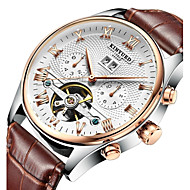 cheap -KINYUED Men's Skeleton Watch Wrist Watch Mechanical Watch Japanese Automatic self-winding Leather Black / Brown 30 m Water Resistant / Waterproof Calendar / date / day Chronograph Analog Luxury Dress