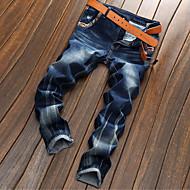 Masculino Reto Jeans Chinos Calças-Cor Única Casual Simples Cintura Média Zíper Botão Algodão Micro-Elástico Com Molas Outono