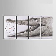 Moderne / Nutidig Andre Veggklokke,Rektangulær Lerret 30 x 60cm(12inchx24inch)x4pcs/ 40 x 80cm(16inchx32inch)x4pcs Innendørs Klokke