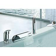 حنفية حوض الاستحمام - معاصر / آرت ديكو / ريترو / الحديث الكروم واسع الأنتشار صمام سيراميكي Bath Shower Mixer Taps / الفولاذ المقاوم للصدأ / التعامل مع واحد ثلاثة ثقوب
