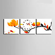 E-HOME® Branches of Yellow Flowers Clock in Canvas 3pcs