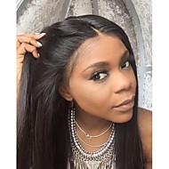 halpa -Naisten Aitohiusperuukit verkolla Aidot hiukset Full Lace Liimaton kokoverkko 130% Tiheys Suora Peruukki Musta Lyhyt Keskikokoinen Pitkä