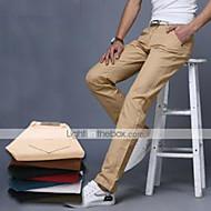 Herre Bomuld Tynd Pæne bukser Chinos Bukser Ensfarvet