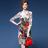فستان نسائي قياس كبير فضفاض راقي طباعة - حرير فوق الركبة مناسب للخارج