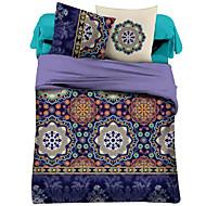 Duvet Cover Sets Floral 4 Piece Polyester Reactive Print Polyester 4pcs (1 Duvet Cover, 1 Flat Sheet, 2 Shams)