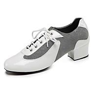 billige Sko til latindans-Herre Jazz-sko Netting / PU Høye hæler Tvinning Kan spesialtilpasses Dansesko Hvit / Svart / Rød / Innendørs