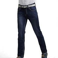 Masculino Simples Cintura Média Sem Elasticidade Reto Jeans Calças,Sólido