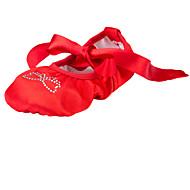 baratos Sapatilhas de Dança-Sapatilhas de Balé Tecido Sapatilha Pedrarias Sem Salto Não Personalizável Sapatos de Dança Vermelho / Interior
