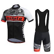 Miloto สำหรับผู้ชาย แขนสั้น Cycling Jersey with Bib Shorts จักรยาน กางเกงขาสั้น Bib Shorts เสื้อยืด ระบายอากาศ 3D Pad แห้งเร็ว แถบสะท้อนแสง Sweat-wicking กีฬา เส้นใยสังเคราะห์ ซิลิโคน เรขาคณิต