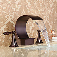 Contemporary Widespread Waterfall Widespread Ceramic Valve Three Holes Two Handles Three Holes Oil-rubbed Bronze , Bathroom Sink Faucet