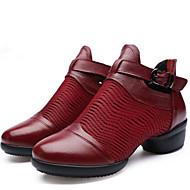 baratos Sapatilhas de Dança-Mulheres Sapatos de Dança Moderna Couro Têni / Meia Solas Salto Baixo Não Personalizável Sapatos de Dança Branco / Preto / Vermelho