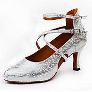billige Moderne sko-Dame Latin Glimtende Glitter Høye hæler Trening Nybegynner Innendørs Utendørs Opptreden Spenne Glimtende Glitter Utsvingende hæl Gull