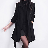 cheap -Daily / Work Street chic Spring / Winter Long Coat, Solid Colored Stand Long Sleeve Wool Red / Navy Blue / Yellow XXL / XXXL / 4XL
