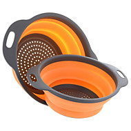 cheap -2 Pieces Collapsible Silicone Colander Folding Kitchen Silicone Strainer Including One 8 Inch and One 9.5 Inch Random Color
