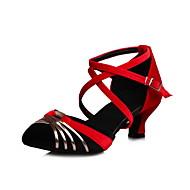 Dame Latin Salsa Fløyel Sandaler Trening Profesjonell Opptreden Spenne Kubansk hæl Svart Mørkegrå Grønn Blå 5,5 cm Kan ikke