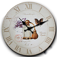 Traditional Country Retro Creative Floral/Botanicals Characters Music Wall ClockRound 34*34 cm Indoor/Outdoor Clock Wall Clock
