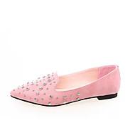 여성 플랫 컴포트 PU 봄 캐쥬얼 워킹화 컴포트 크리스탈 플랫 블랙 그레이 핑크 2.5cm- 4.5cm