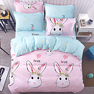Duvet Cover Sets Animal 4 Piece Poly/Cotton Reactive Print Poly/Cotton 4pcs (1 Duvet Cover, 1 Flat Sheet, 2 Shams) (If Twin size, only 1