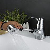Koupelna Umyvadlová baterie - Dešťová sprcha / Široká baterie / Výsuvný rozprašovač Pochromovaný Baterie na střed S jedním otvorem / Single Handle jeden otvorBath Taps