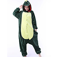 Voksne Kigurumi-pyjamas Drage Dinosaur Onesie-pyjamas Koralfleece Grøn Cosplay Til Damer og Herrer Nattøj Med Dyr Tegneserie Festival / Højtider Kostumer
