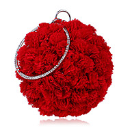 baratos Clutches & Bolsas de Noite-Mulheres Bolsas Poliéster Bolsa de Festa Flor Floral Vermelho / Rosa